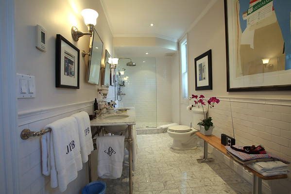 KEN YUSZKUS/Staff photo   The master bathroom at Jeff Beale's house at 40 Chestnut Street, Salem.    08/19/16