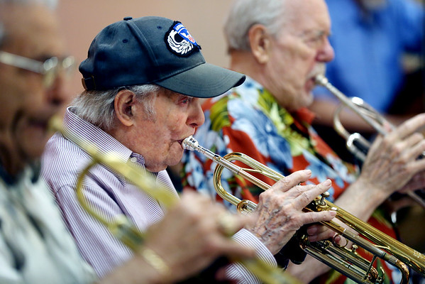 KEN YUSZKUS/Staff photo.      99-year trumpeter for the Golden Echoes Dance Band, Francis Higgins, a Salem native.