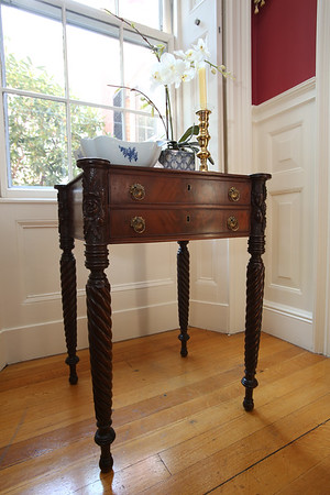 KEN YUSZKUS/Staff photo   Samuel Field McIntire made this piece of furniture in the living room of Jeff Beale's house at 40 Chestnut t., Salem.    08/19/16
