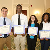 KEN YUSZKUS/Staff photo.    Salem Academy students, from left, Ryan Kaminski, Evan Aroko, Summer Abusharkh, and Pamela Edebin received the Salem Rotary Club's Leadership and Services Award.      05/24/16