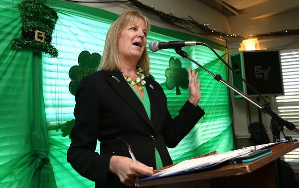 KEN YUSZKUS/Staff photo. Sen. Joan Lovely speaks at the start of the St. Patrick's Day breakfast held at Finz restaurant in Salem.   03/13/15