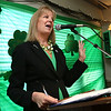KEN YUSZKUS/Staff photo. Sen. Joan Lovely speaks at the start of the St. Patrick's Day breakfast held at Finz restaurant in Salem.   03/13/15