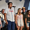 Members of the Salem HS Acapella Group Witch Pitch perform the National Anthem. Behind them is Salem National Park Superintendent Dubrey and Senator Joan Lovely. <br /> <br /> Photo by joebrownphotos.com