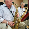 KEN YUSZKUS/Staff photo.      David Benjamin of Gloucester plays the saxophone in the Golden Echoes Dance Band at the Peter A. Torigian Senior Center in Peabody.        06/16/16