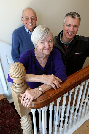 KEN YUSZKUS/Staff photo.    In front is Diane, left husband Dick, and right son David Pabich at the renovated Salem Inn's Peabody House. Dick and Diane are owners and their son is with Salem Renewal LLC.   04/05/16