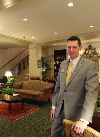 KEN YUSZKUS/Staff photo.   General manager Patrick Cornelissen in the lobby of the Hawthorne Hotel.    01/25/16.