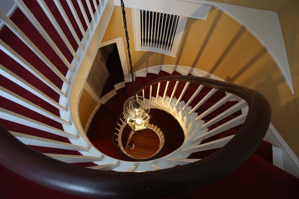 KEN YUSZKUS/Staff photo.      The spiral staircase in Rich Jagolta's home on Chestnut Street in Salem    2/8/16