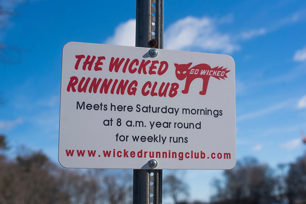"SAM GORESH/Staff photo. A sign in Forest Hill Park for the Wicked Run Club's ""No Rest for the Wicked"" Saturday morning run. 1/28/17"