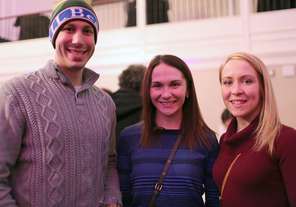 "HADLEY GREEN/ Staff photo<br /> <br /> From left to right, James Nulter, Christina Rankin and Allie Leeman, all of Salem, attend the ""Salem So Sweet"" chocolate and wine tasting on Friday, February 10th, 2017 at Rockafellas in Salem."