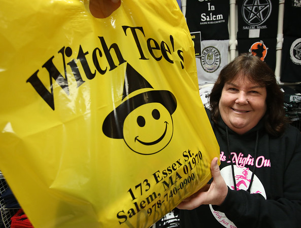 "Joan Brennan inside her shop, ""Witch Tee's"", in the Museum Place Mall in Salem"