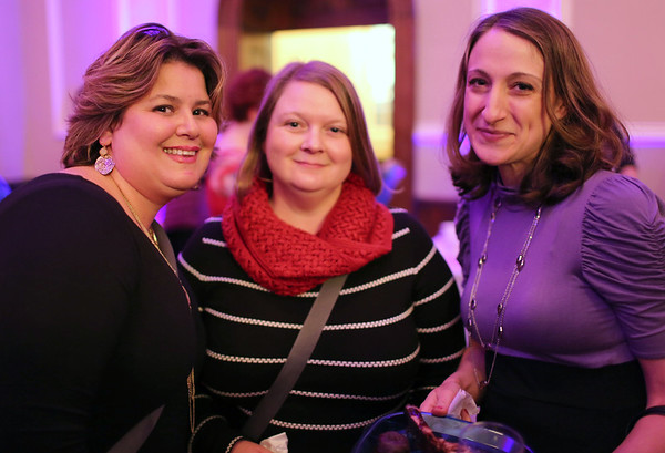 """HADLEY GREEN/ Staff photo<br /> <br /> From left to right, Natalie Blue, of Wenham, Molly Fowler, of Marblehead, and Stephanie Magdis, of Beverly attend the """"Salem So Sweet"""" chocolate and wine tasting on Friday, February 10th, 2017 at Rockafellas in Salem."""