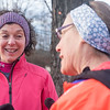 "SAM GORESH/Staff photo. Wicked Run Club members Caron Weiner (left) and Donna Greenberg chat before parting ways during the ""No Rest for the Wicked"" Saturday morning run. 1/28/17"
