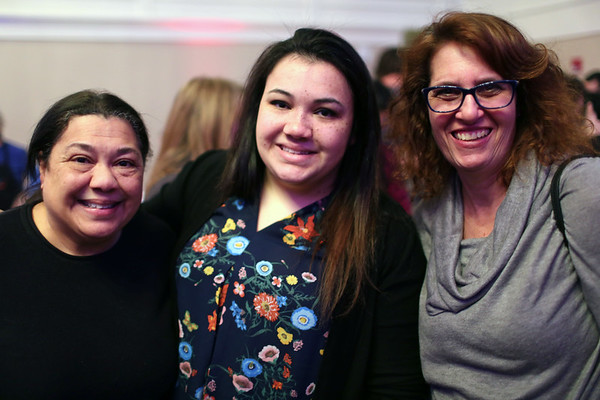 "HADLEY GREEN/ Staff photo<br /> <br /> From left to right, Betty Lopes, of Lynn, Catherine Lopes, of Lynn, and Stephanie Greenberg, of Swampscott attend the ""Salem So Sweet"" chocolate and wine tasting on Friday, February 10th, 2017 at Rockafellas in Salem."
