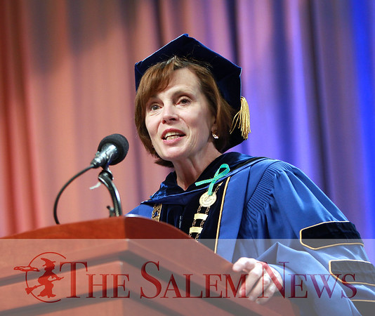 FILE ------- DAVID LE/Staff photo. 5/16/15. Salem State University President Patricia Maguire Meservey delivers her welcoming remarks at the start of the afternoon Commencement on Saturday afternoon.