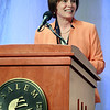 FILE ------- DAVID LE/Staff photo. 5/7/15. Salem State President Patricia Maguire Meservey smiles while introducing New England Patriots quarterback Tom Brady as the highlighted guest of the Salem State Series on Thursday evening.