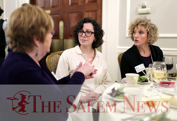 HADLEY GREEN/ Staff photo<br /> From left to right, Sue Todd of Beverly, Heather Famico of Salem, and Carrie Francis Cabot of Salem, speak at the Salem Partnership Annual Dinner and Meeting held at the Hawthorne Hotel in Salem on Tuesday, March 28, 2017.