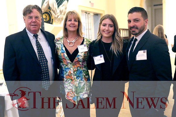 HADLEY GREEN/ Staff photo<br /> From left, Salem City Councilor Stephen Lovely, State Senator Joan Lovely, Jenna Lovely, and Andrew Buonfiglio attend the Salem Chamber of Commerce's Celebrate Salem Awards Dinner. The dinner took place at the Peabody Essex Museum on April 26th, 2017.