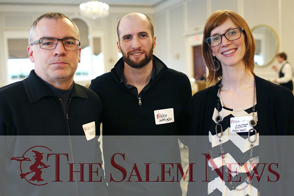 HADLEY GREEN/ Staff photo<br /> From left to right, Glenn Kennedy of Marblehead, Justin Miller of Salem, and Cindy Vincent of Salem attend the Salem Partnership Annual Dinner and Meeting held at the Hawthorne Hotel in Salem on Tuesday, March 28, 2017.