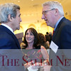 HADLEY GREEN/ Staff photo<br /> Susan and Mark Goldstein of Newburyport speak with former secretary of state John Kerry at the Essex National Heritage Area 20th anniversary gala held at the Peabody Essex Museum in Salem on Wednesday, April 5th, 2017.