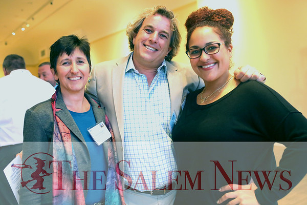 HADLEY GREEN/ Staff photo<br /> From left, Nicole McLaughlin, Tim Brown, and Mikki Wilson attend the Salem Chamber of Commerce's Celebrate Salem Awards Dinner. The dinner took place at the Peabody Essex Museum on April 26th, 2017.