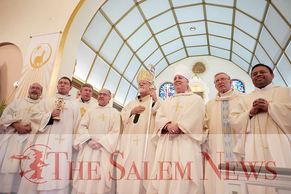 Cardinal Sean O'Malley and other clergy at the presentation of St. John Paul II's relic at John Paul II Divine Mercy Shrine in Salem, Sunday, April 8, 2018. Jared Charney / Photography