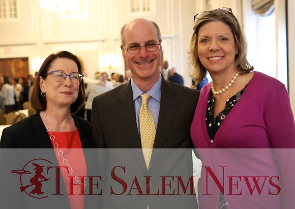 HADLEY GREEN/Staff photo<br /> From left, Sarah Andrews, Patrick Delulis, and Laura Fleming attend the Salem Partnership's annual meeting at the Hawthorne Hotel in Salem. <br /> <br /> 03/28/18