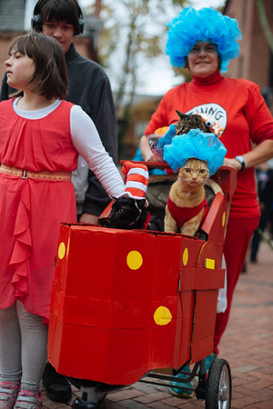 Jared Charney / Photo Holly the fish, Lucky, and Milo carted around by Heather, Brenda, and Jeremy Wilde at the Second Annual Howl-o-ween Pet Parade on Derby Square in Salem, October 2, 2016.
