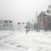 DAVID JOYNER/ CNHI News<br /> Elm Square in Andover sits almost empty during the storm.