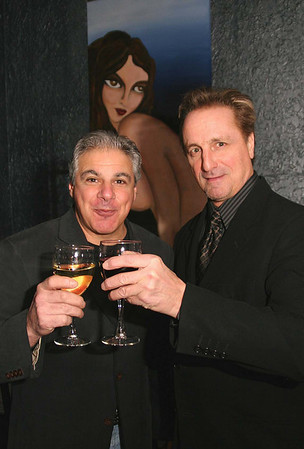 """City Desk, Andover:  Toasting the film, at left, John Ippolito of Bolton, event planner with blues legend,<br /> and star of the documentary, James Montgomery of Newport, RI.,<br /> at the private screening of """"Delta Rising"""", a blues documentary, co-written, directed and produced by Andover's<br /> Laura Bernieri, Wednesday, at Glory Restaurant, Andover.<br /> 12-17-08                            Photo by Frank J. Leone, Jr."""