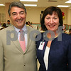 Lawrence: At left, Richard J. Santagati, chairman of board and new CEO, Dianne J. Anderson,<br /> both of Andover,<br /> at the New CEO Reception and Luncheon, Monday, at Lawrence General Hospital, Lawrence.<br /> 8-31-09 Photo by Frank J. Leone, Jr. New CEO Reception at Lawrence General Hospital, Lawrence, 8/31