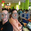 JAN SEEGER/Staff photo. <br /> Manager of Orange Leaf in Andover, Bill Couture, left, and owner David Pierre.