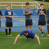 CARL RUSSO/Staff photo. ANDOVERS MAGAZINE: Phillips Academy Headmaster, John Palfry works out with the varsity soccer team. 9/16/2013.