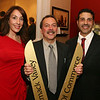 Photo by Frank J. Leone, Jr. Taking part in the ribbon cutting ceremony, at left, Lana Grelle, proprietor/owner and<br /> master stylist, Will Carpenter, vice-president of Merrimack Valley Chamber of Commerce and Sean O'Clare, all of Methuen,<br /> at the Grand Opening of Aphrodite's Salon and Spa, Friday, 354 North Main Street, Andover.<br /> 11/11/11