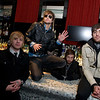 "Martin Johnson, second from left, of Andover is the lead singer for the hit band Boys Like Girls. He and his band mates, all from Massachusetts, were at a screening for their new DVD, ""read between the lines"" Sunday, Sunday, Nov. 2, 2008 Patriot Place in Foxboro. From left are bassist Bryan Donahue, Johnson, drummer John Keefe, and lead guitarist Paul DiGiovanni.<br /> Photo by Mike Dean"