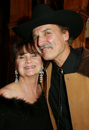 City Desk, North Andover:Ê Shades of Gunsmoke, at left, Nancy Faye Glass, AKA Miss Kitty and Dr. Don<br /> Ross, AKA Dennis Weaver, both are from North Andover,<br /> at the Hoorary For Hollywood, Quota International Club of Andover's gala to benefit the hearing impaired,<br /> disadvantaged women and children, Saturday, at the Stevens Estate, North Andover.<br /> 11-8-08 Photo by Frank J. Leone, Jr.<br /> Ê