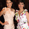 At left, model Kendra Dargoonian wearing a Teri Jon evening gown from Cristina's Fashions with proprietor<br /> Christine Kalman, both are from Andover,<br /> at the Susan B. Komen Breast Cancer Foundation Fashion Show Benefit, Wednesday, at the Lanam Club, Andover.<br /> 5-26-10,  Photo by Frank J. Leone, Jr.