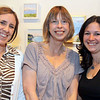 Enjoying the art show, from left, Artist Nancy Grice and Linda Metzger of Andover with Kerry Sweeney of North Andover, at the 6th Annual Hair of the Dog Art Show and Benefit for MSPCA and Nevins Farm, Friday at the Essex Art Center, Lawrence.   6th Annual Hair of the Dog Wine Tasting and Art Show to benefit MSPCA and Nevins Farm, 4/30, Essex Art Center, Larwrence,<br /> 4-30-10,  Photo by Frank J. Leone, Jr.