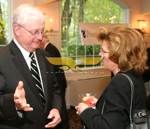 City Desk, Haverhill: David Hartleb, president of Northern Essex Community College chats with Ellen Keller of Andover and Ozzie Properties, at the Merrimack Valley Chamber of Commerce 2011 Annual Dinner and Awards, Wednesday, DiBurro's Function Hall, Haverhill. 5-4-11, Photo by Frank J. Leone, Jr.