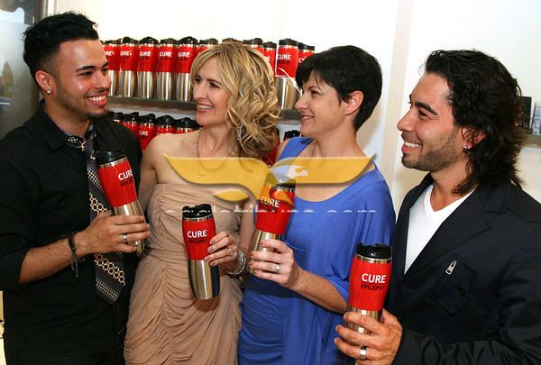 """Photo by Frank J. Leone, Jr.  June 9, 2011:""""Bag-a-Bag for Cure"""" Citizens United for Epilepsy Research Benefit, Indra Salon, Andover.Event organizers, from left, Edgardo Gonzales, Indra marketing director, Aricia Symes-Elmer Shift Your Style coach,Linsey Goldman, her son Benjamin has Epilepsy and host Jose Batistine, Indra owner, all are from Andover."""