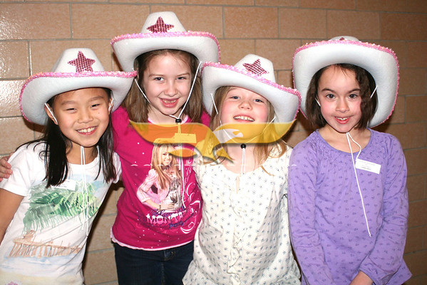 Sunhyun Shin, Sarah Conlon, Meggie Briley and Lilly Abbott at the annual Variety Show at Franklin Elementary School in North Andover on March 3, 2011.