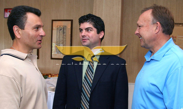Photo by Frank J. Leone, Jr. June 10, 2010: Andover Service Club Breakfast Meeting with Al Getler at Andover Country Club, Andover. Seen at breakfast, at left, Pete Paglia, Azimuth and Dan Fallon of Georgetown Savings Bank, both are from Andover, with Brad Heim of Atkinson and EasyCare.
