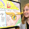 """City Desk, North Andover: Zoe Lathrop, 11, of North Andover, Atkinson School 5th grade with her winning poster entry, """"Cyber Bullying"""", at the Open House, Saturday, at new North Andover Police Station, Osgood Street, North Andover, 5-14-11, Photo by Frank J. Leone, Jr."""