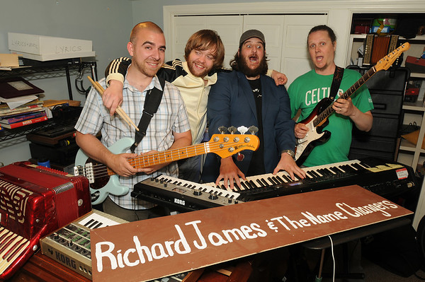 CARL RUSSO/Staff photo. Andover band, Richard James and The Name Changes. From left, Ben Hoadley, bass guitar and vocals; Tyler Brooks, drums; Rick Umlah, (Richard James) keyboard and vocals and Ben Fairbank, lead guitar. 6/18/2013.