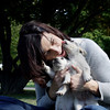 MARY SCHWALM/Staff Photo.  Joanna Reck with foster puppies. 9/20/10