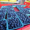 RYAN HUTTON/ Staff photo<br /> Fresh blueberries from Boston Hill Farm at the Andover Farmer's Market.