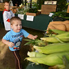 RYAN HUTTON/ Staff photo<br /> Teddy Crow, 3, rushes for an ear of corn as his brother Patrick, 4, looks on at the Andover Farmer's Market.