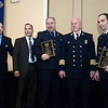 CARL RUSSO/Staff photo. STEPPING OUT: From left, North Andover firefighter/EMT Matthew Lacolla, Exchange Club President, Francisco Santiago, firefighter/EMT James White, North Andover Fire Chief , Andrew Melnikas and firefighter/EMT, Jeffrey Judge. Lacolla, White and Judge were honored by the Exchange Club of Lawrence with the Firefighters of the Year awards for saving the life of a car accident victim who was in cardiac arrest. This is the Exchange Club's 54th. annual Public Safety Award ceremony which is sponsored by Wheelabrator of North Andover. 1/21/2016.