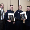 CARL RUSSO/Staff photo. STEPPING OUT: From left, Exchange Club of Lawrence President, Francisco Santiago; Andover detectives, Kevin Aufiero and  Peter Reming and Andover Police Chief, Patrick Keefe. Aufiero and Reming were honored by the Exchange Club of Lawrence with the Police Officers of the Year awards for investigating and solving a house break involving a 16 year old victim who was home at the time. The perpetrator was eventually caught. This is the Exchange Club's 54th. annual Public Safety Award ceremony which is sponsored by Wheelabrator of North Andover. 1/21/2016.