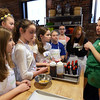 CARL RUSSO Staff photo. Chef, Anne Tran talks to her students about ingredients for the red velvet whoopee pies with cream cheese frosting they will learn to make at the Taste Buds Kitchen cooking school for kids in North Andover. 3/09/2016