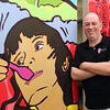 Owner Jim Demotses leans against a painted wall at Pazzo Gelato Cafe in North Andover.<br /> Photo by Mary Schwalm   5/20/14